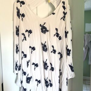 Free People white with navy scrolling dress